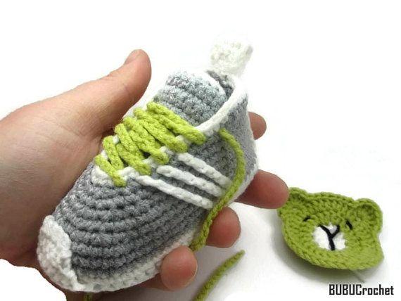 Gray Crochet baby sneakers Crochet Baby Booties by BUBUCrochet ...