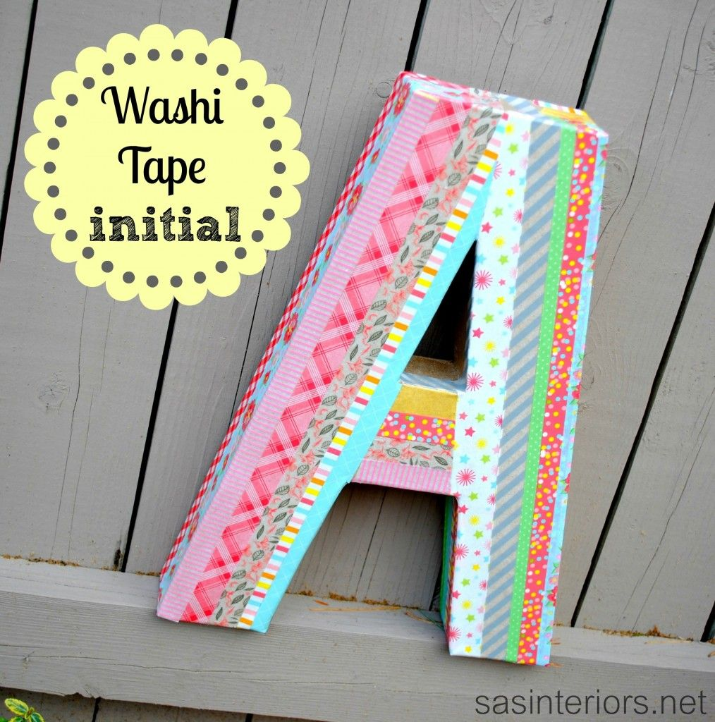 Diy masking tape initial for Washi tape project ideas
