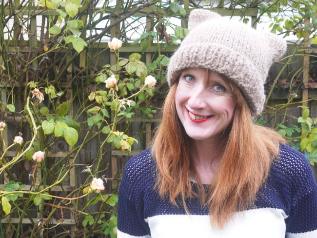Knit a super simple cat ear hat free pattern knit a large rectangle fold it in half and sew it - Free cat hat knitting pattern ...
