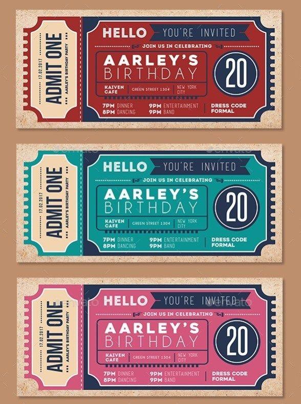 Invitation Ticket Template crafts Pinterest Ticket template - concert ticket invitations template