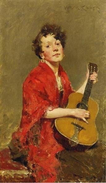 ♪ The Musical Arts ♪ music musician paintings - William Merritt Chase