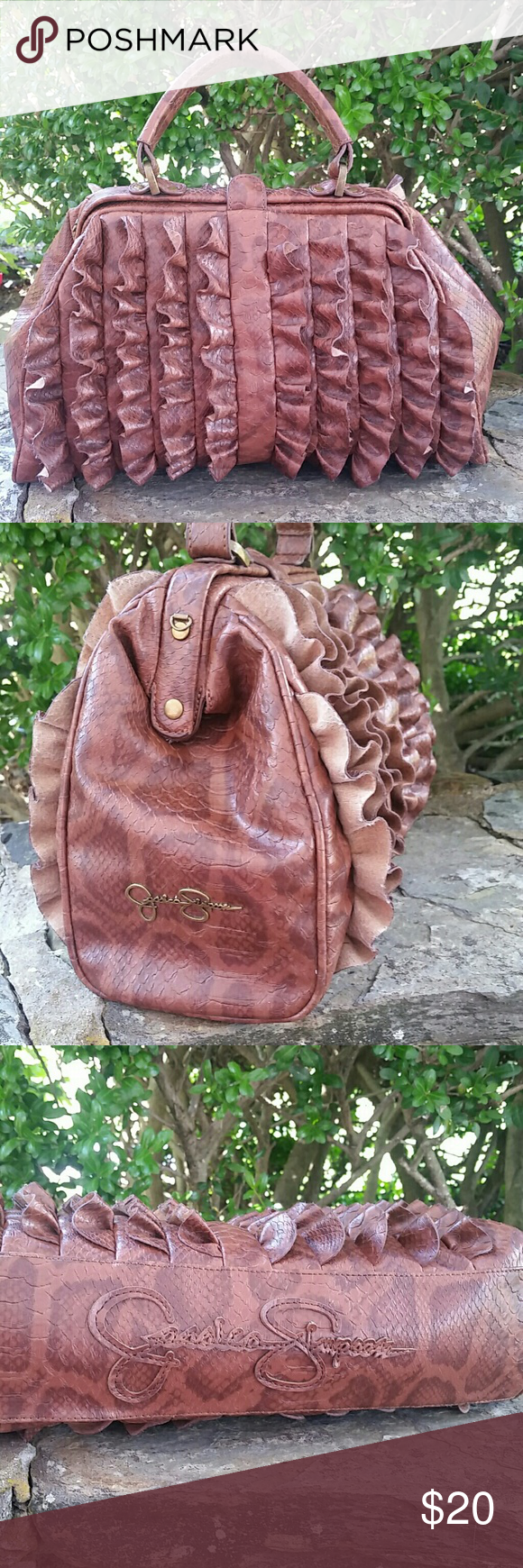 Jessica Simpson purse Warm chocolate brown in color no rips or stains very unique awesome bad Jessica Simpson Bags Satchels