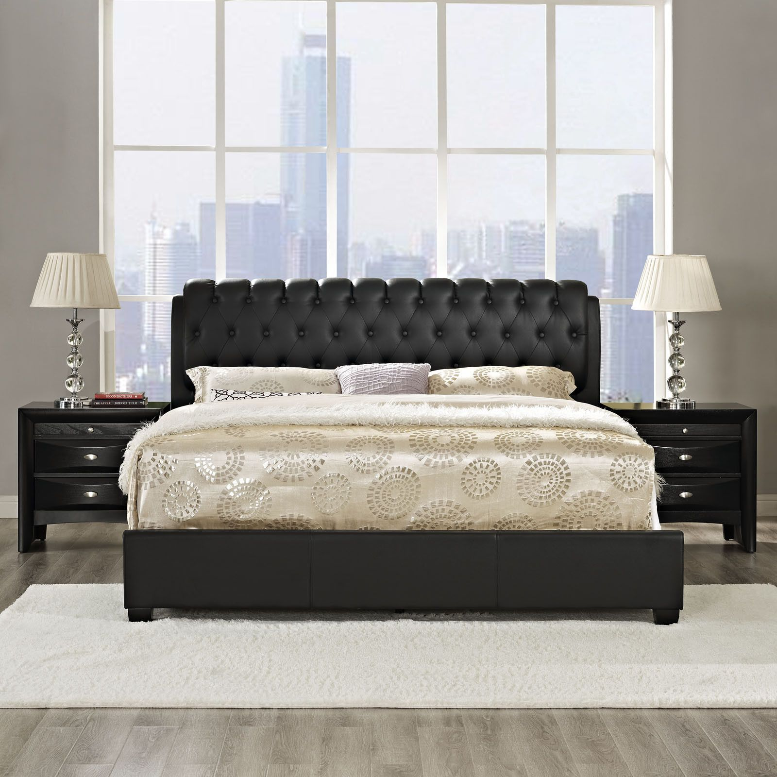 Francesca 3 Piece Queen Bedroom Set in Black | Bedroom Furniture ...