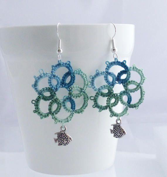 Fish Earrings Lightweight Lace Jewellery Blue Green Lace