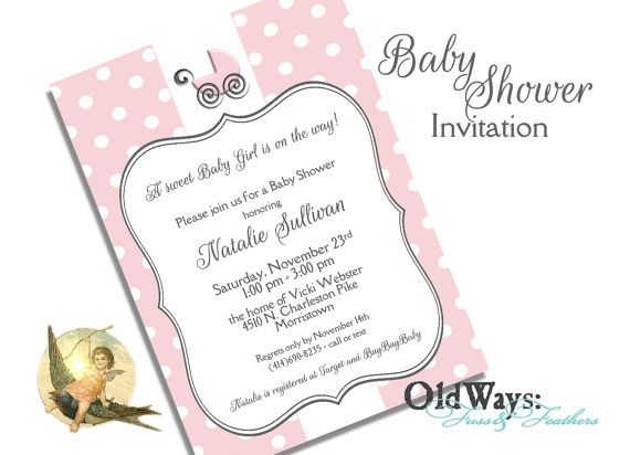 Carriage Baby Girl Shower Invitation Pink and White Polka Dot - Printable Invite 5x7 Customized Digital JPEG or PDF File