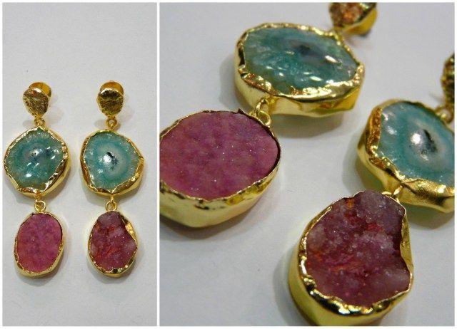 Pendientes dos piedras naturales tiahra jewels for Piedras naturales
