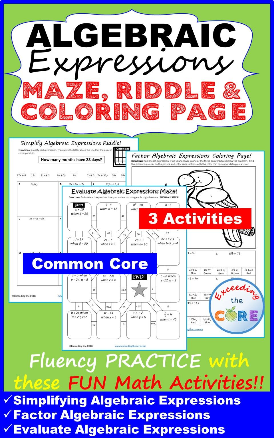 Algebraic Expressions Mazes Riddles Color By Number Fun