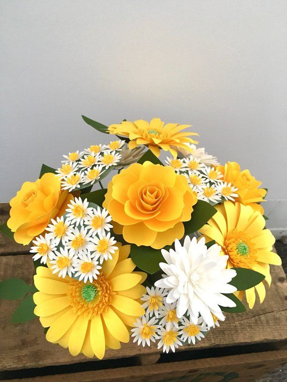 Lemon Yellow Gerbera Daisies Paper Bouquet, Wedding Bouquet Recreation, Paper Flowers, First Anniversary, Get Well Soon, Paper Bouquet #paperflowerswedding