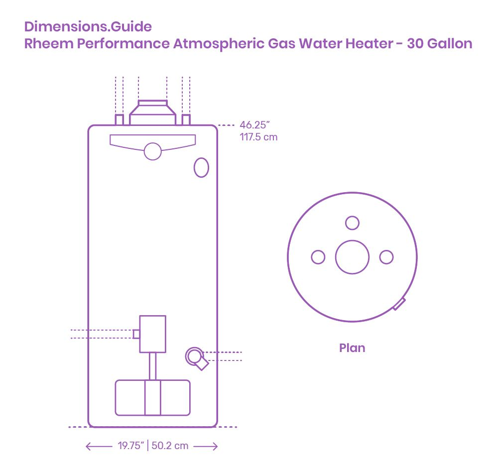 The Rheem Performance Atmospheric Gas Water Heater 30 Gallon Is A Lighter Version Of The 50 And 55 Gallon Capacities It In 2020 Gas Water Heater Water Heater Heater