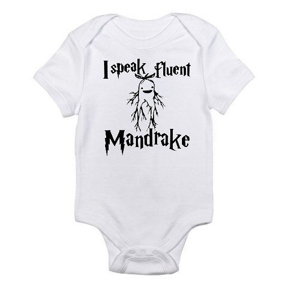 3f1da5d33 Harry Potter Baby Onesie , I Speak Fluent Mandrake ,Harry Potter Inspired Baby  Onesie ,Harry Potter Baby Bodysuit , Baby Shower Gift