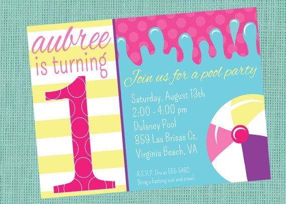 First Birthday Invitation Pool Party By Graceandglee 1600
