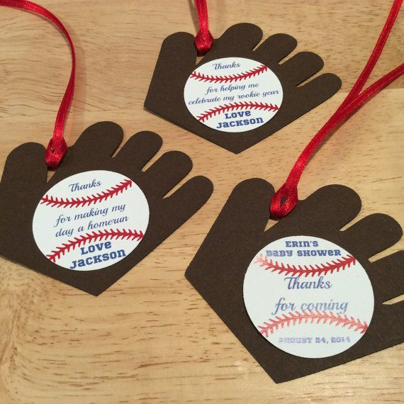 baseball favor tag - set of 12 - baseball baby shower decoration