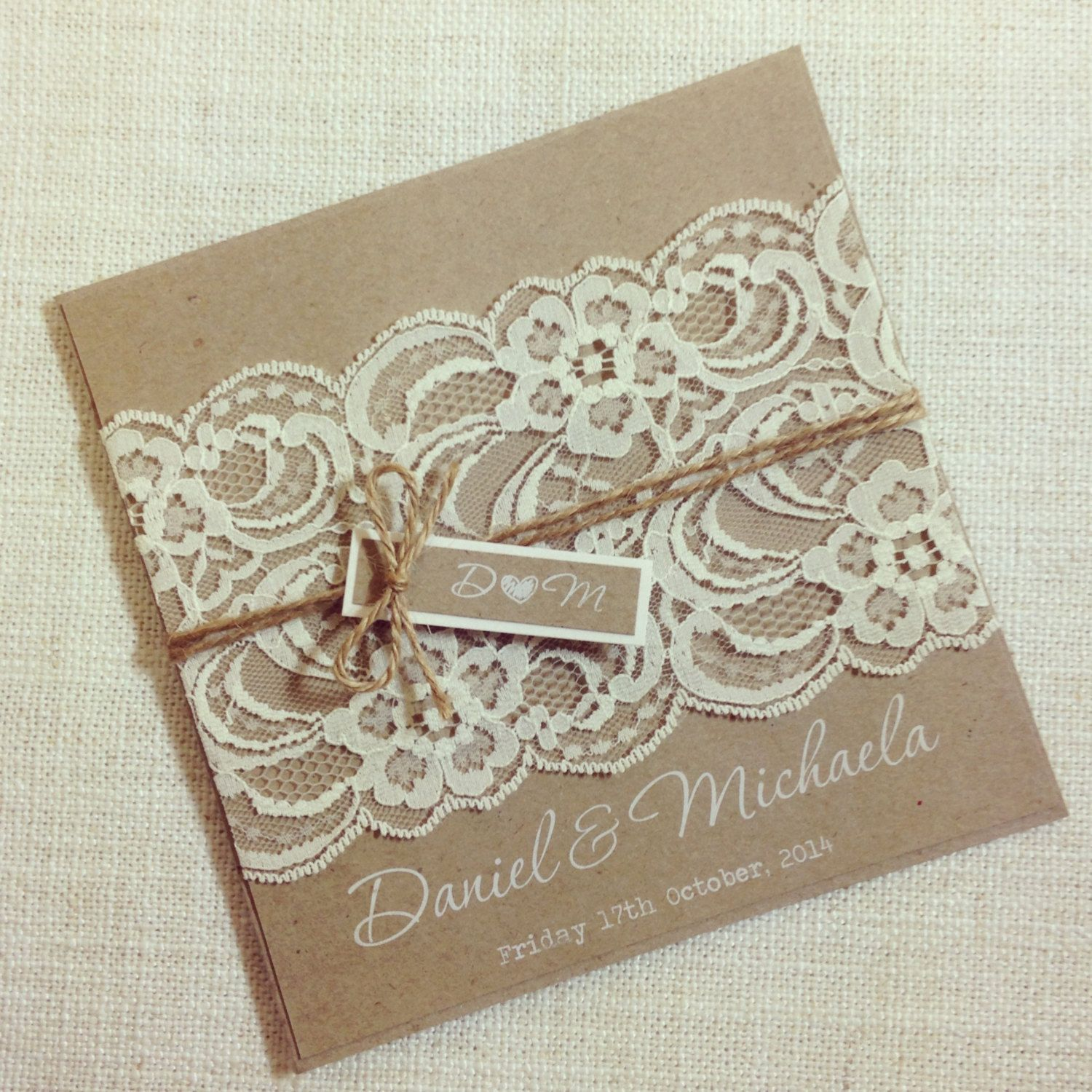 rustic wedding invitation white ink rustic vintage lace square invitation sample by stunningstationery on etsy