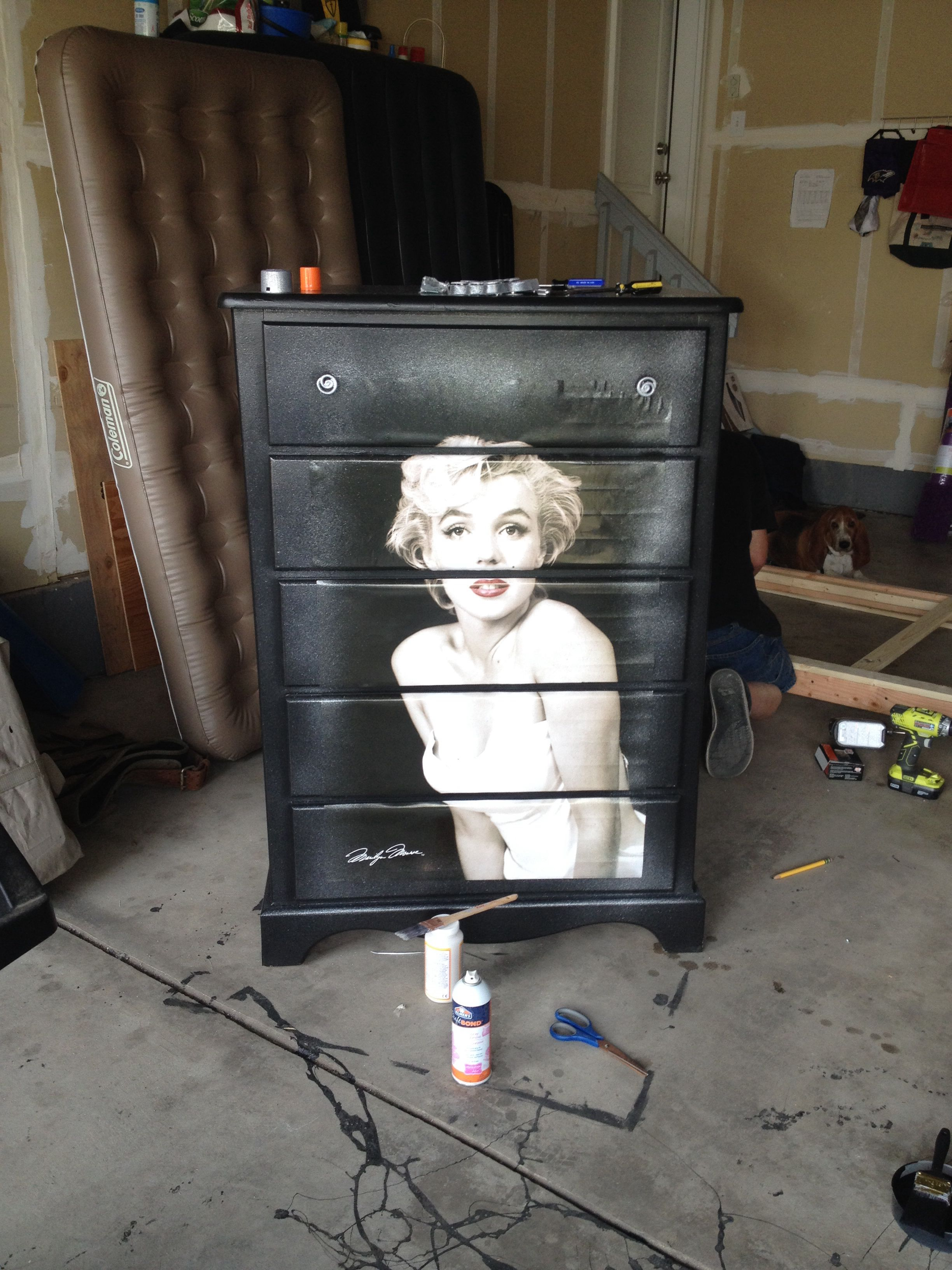 Marilyn Monroe Dresser. Lots Of Black Paint, A Poster Of Marilyn, Spray  Glue And Spray Glitter.