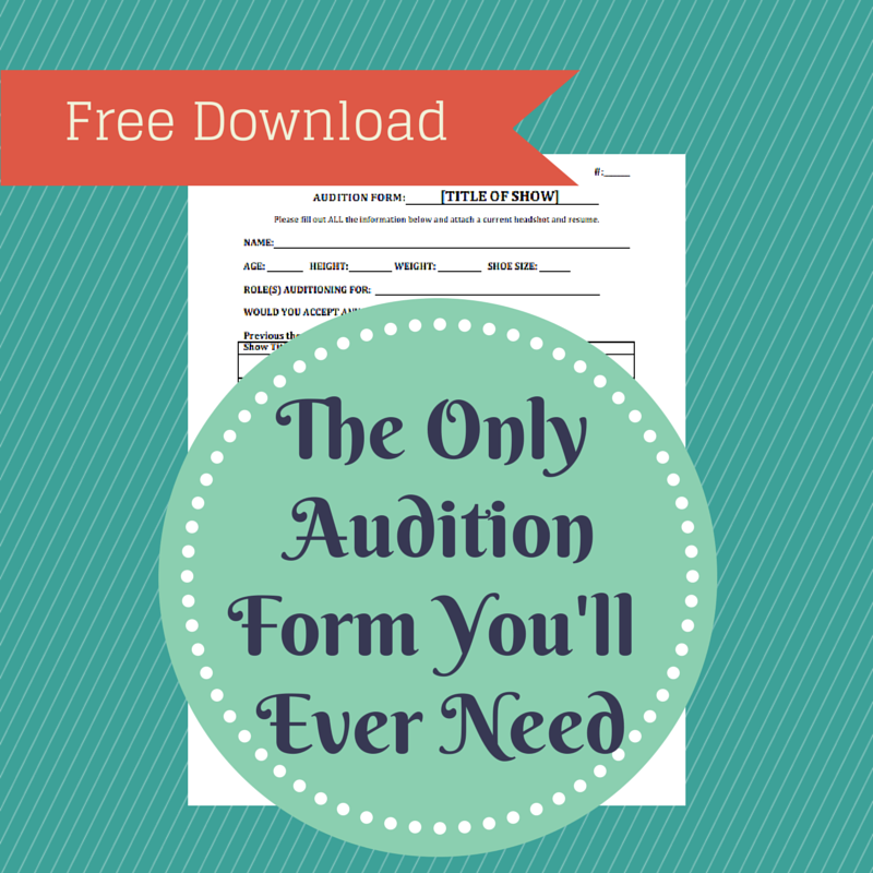 Free Audition Form Template  Yay  Theater Templates