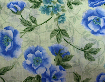 2 Yards Poly Cotton Fabric, Blue Roses on Soft Toile Green Ground, Girls Dresses, ONLY 7.50 US Dollars for BOTH Yards! #fabric #sew #sale  Great for Little Girls Clothes.