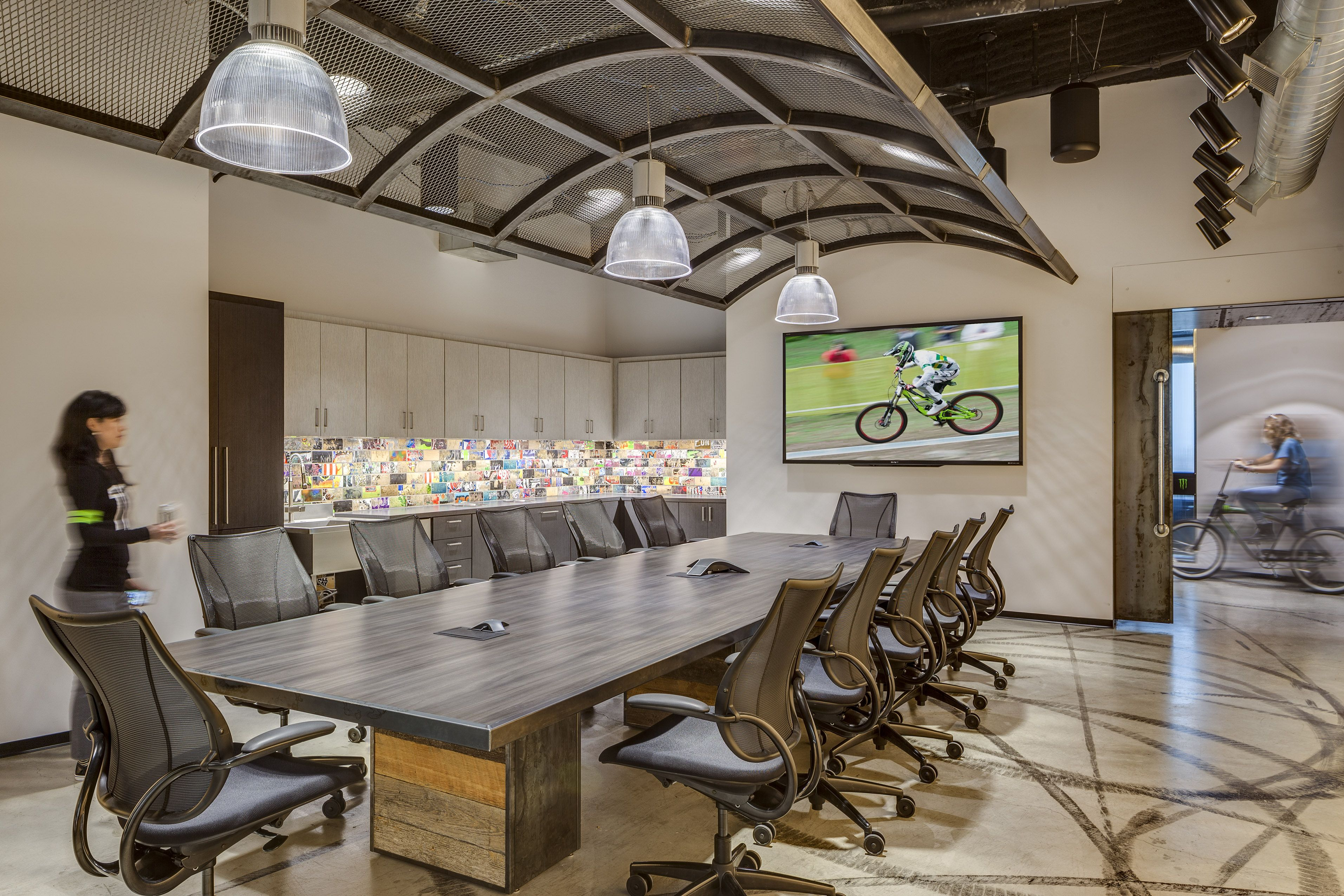Monster energy headquarters conference room commercial interior design by h hendy associates - Monster energy corporate office ...