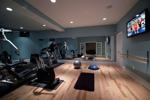 Modern home gym by rule building group diy gym room at