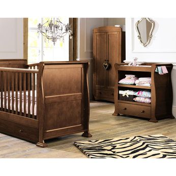 Sleigh Furniture Set In Dark Finish Baby Bedroom Furniture Sets