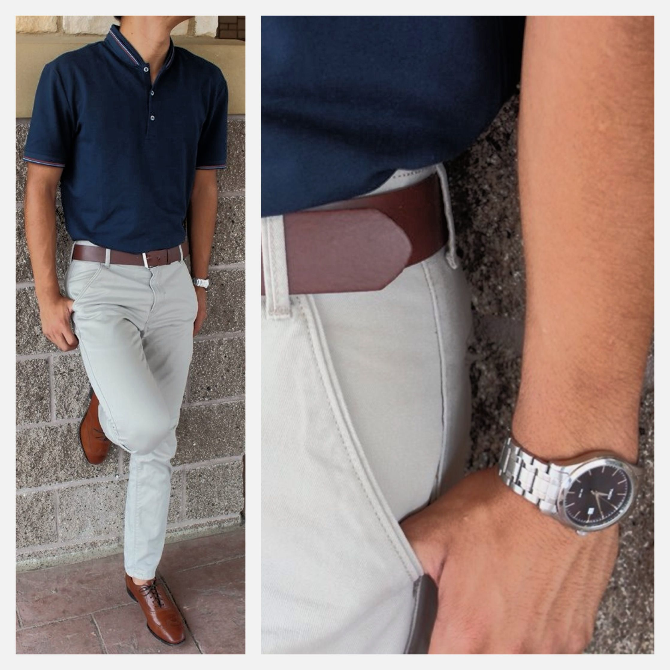 Semi formal casual navy polo khaki pants brown for What color shirt goes with brown pants