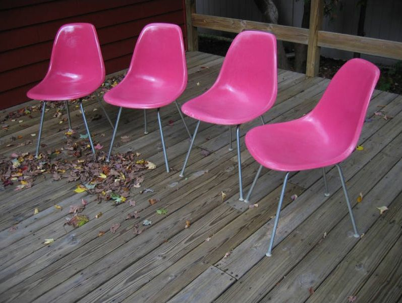 Vintage pink Eames fiberglass chairs This was a contract color