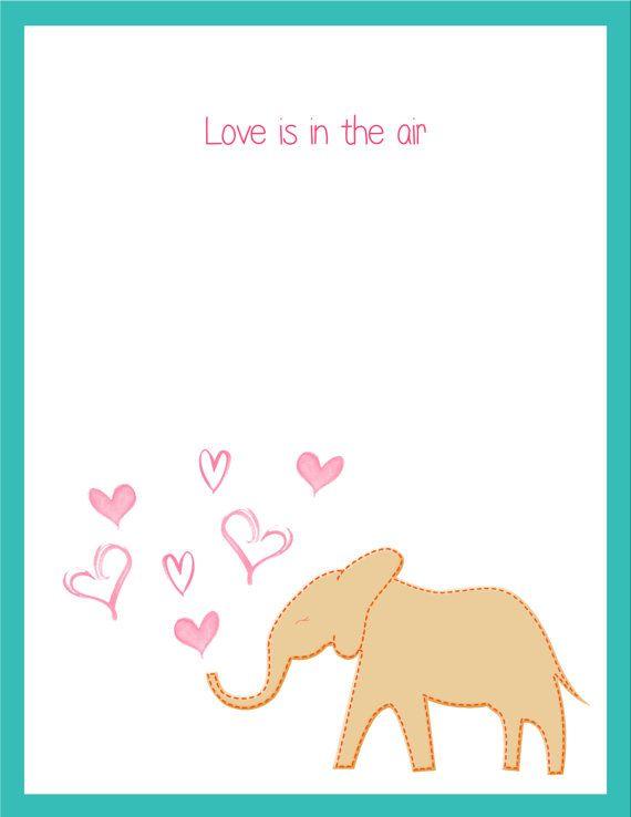DIY Printable Elephant Valentine Card by PoppyHillCreations – Elephant Valentines Card