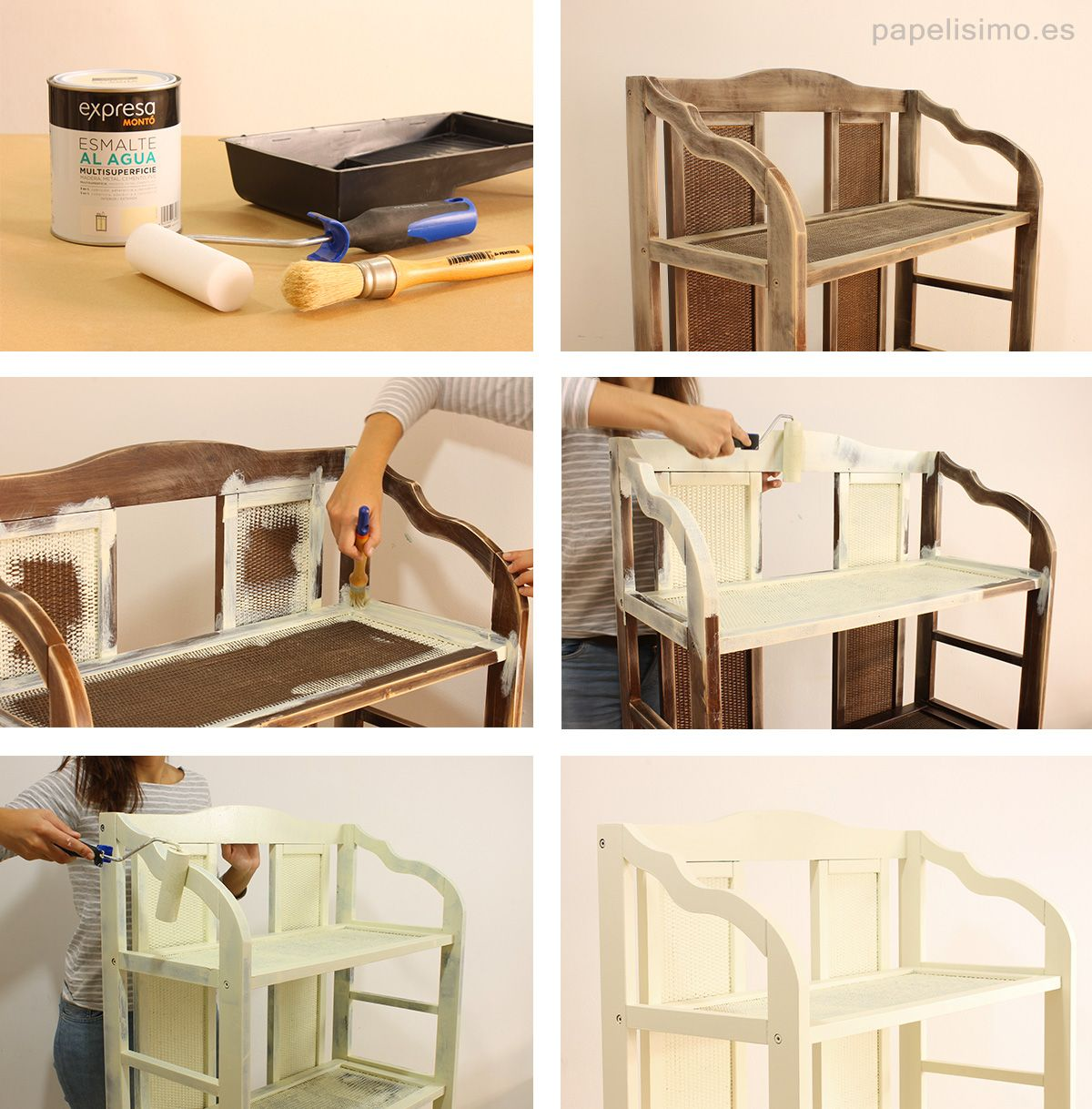 C mo pintar estanteria de madera blanco decoration - Pintar madera blanco ...