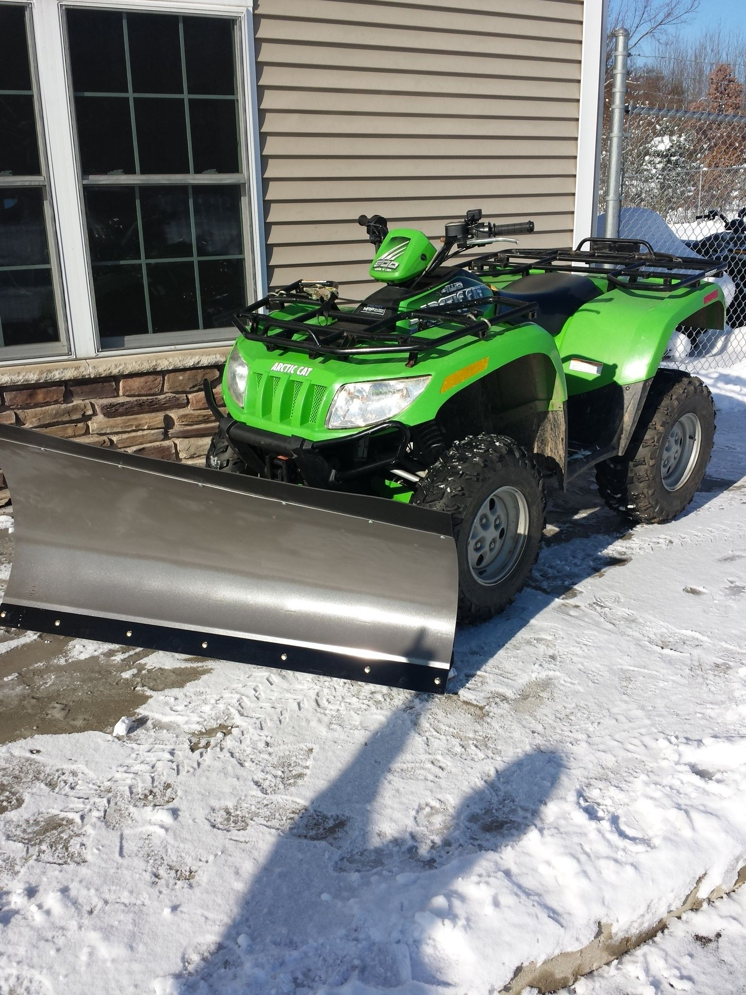 arctic cat 4x4 atv with open trail 60 state blade snow. Black Bedroom Furniture Sets. Home Design Ideas