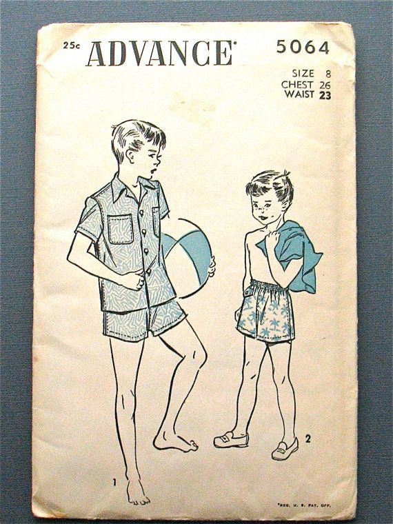 Vintage 1950s boys shirt and shorts sewing pattern by Fancywork ...