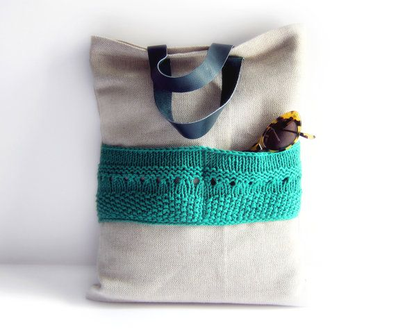 Linen tote knitted bag large emerald green purse cotton knit pocket leather handles memake handmade handbag fashion op Etsy, 74,88 €