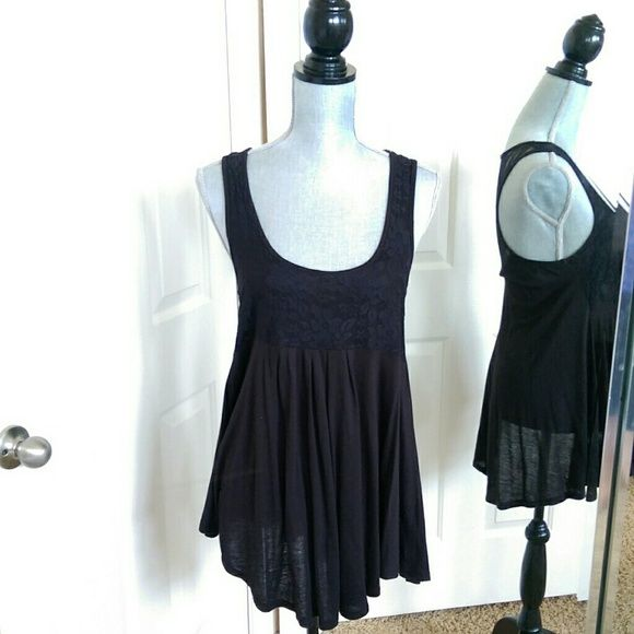 Black long tank with lace Black babydoll style tank. Lace across the front, open lace in the back. Fabulous going out top. Tops Tank Tops