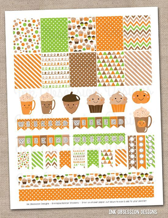 Happy Fall Printable Planner Stickers Instant Download Sticker PDF - agenda download free