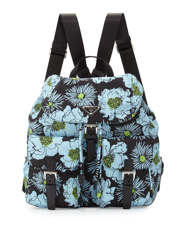 8aaf417c05ec42 Prada Tessuto Stampato Floral Backpack, Blue (Azzurro Dis Fiore), Blue  Floral Print