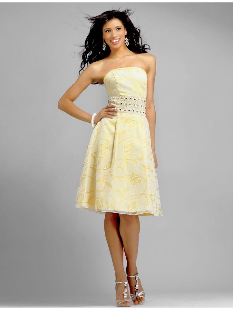 Strapless knee length chiffon trumpet yellow bridesmaid dress