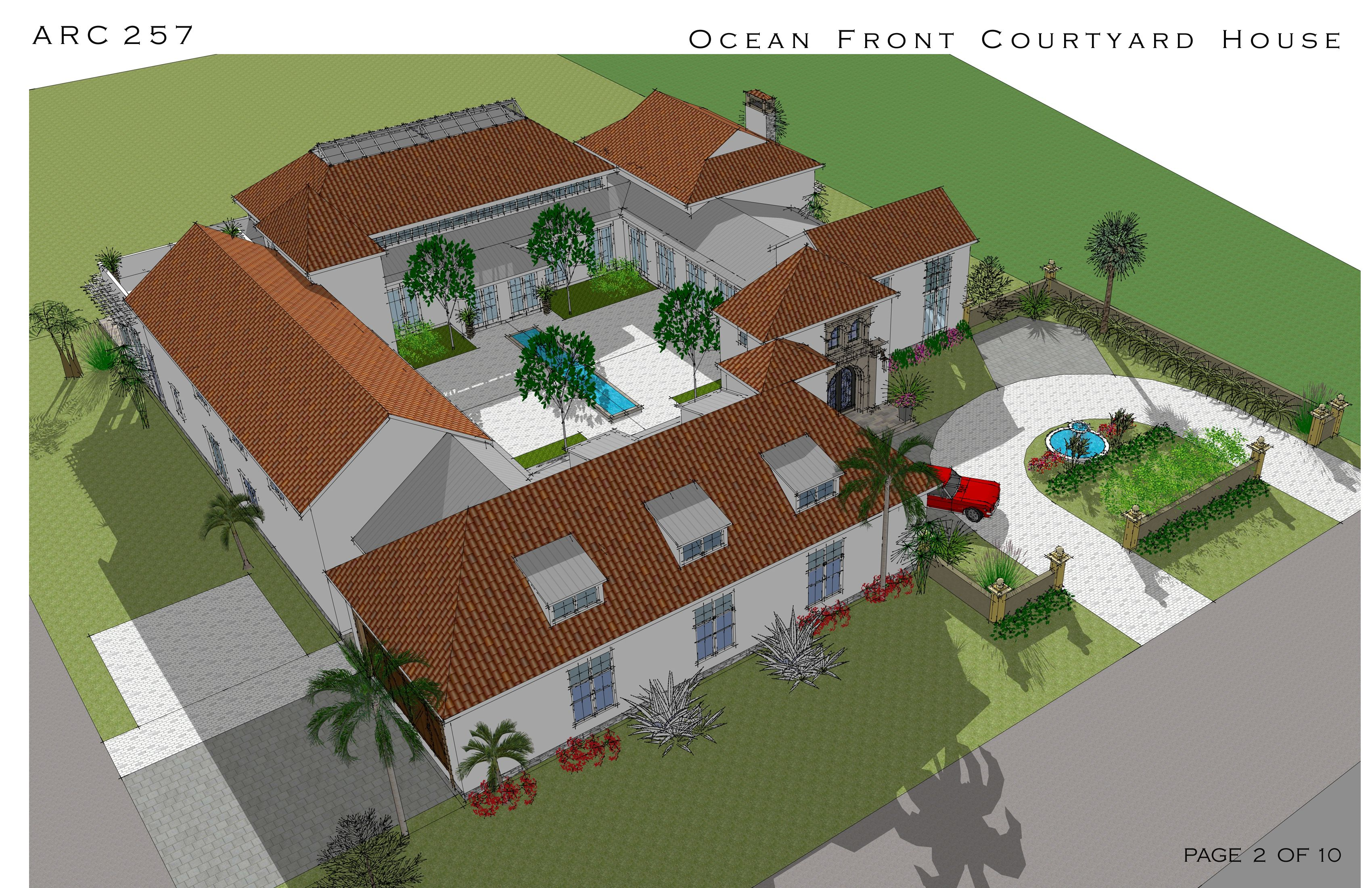 Multi Story Family Homes Designed by Arcadia Design Oceanfront Courtyard House Cocoa Beach US