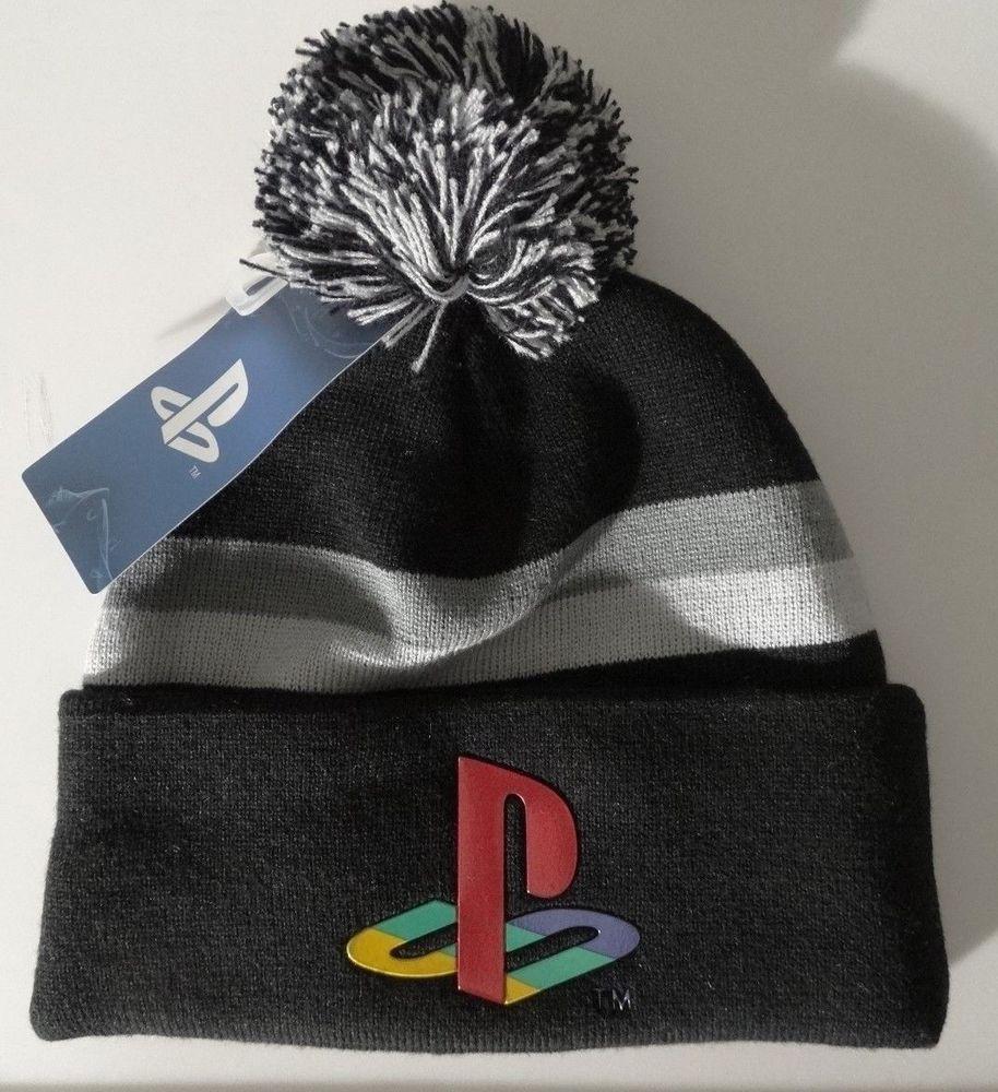 PlayStation Logo Video Game Chrome Weld Cuff Knit Pom Hat Nwt  Playstation   Beanie 76ef4b66ba56