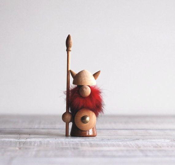 Mid Century Danish Viking Figurine / 1960s Teak Wood by reclaimer, $25.00