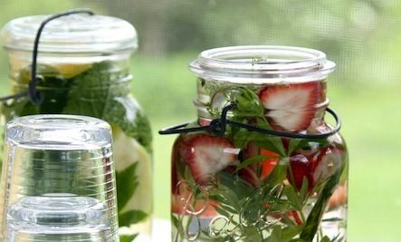 Make Your Own Refreshing Strawberry Herbal Water