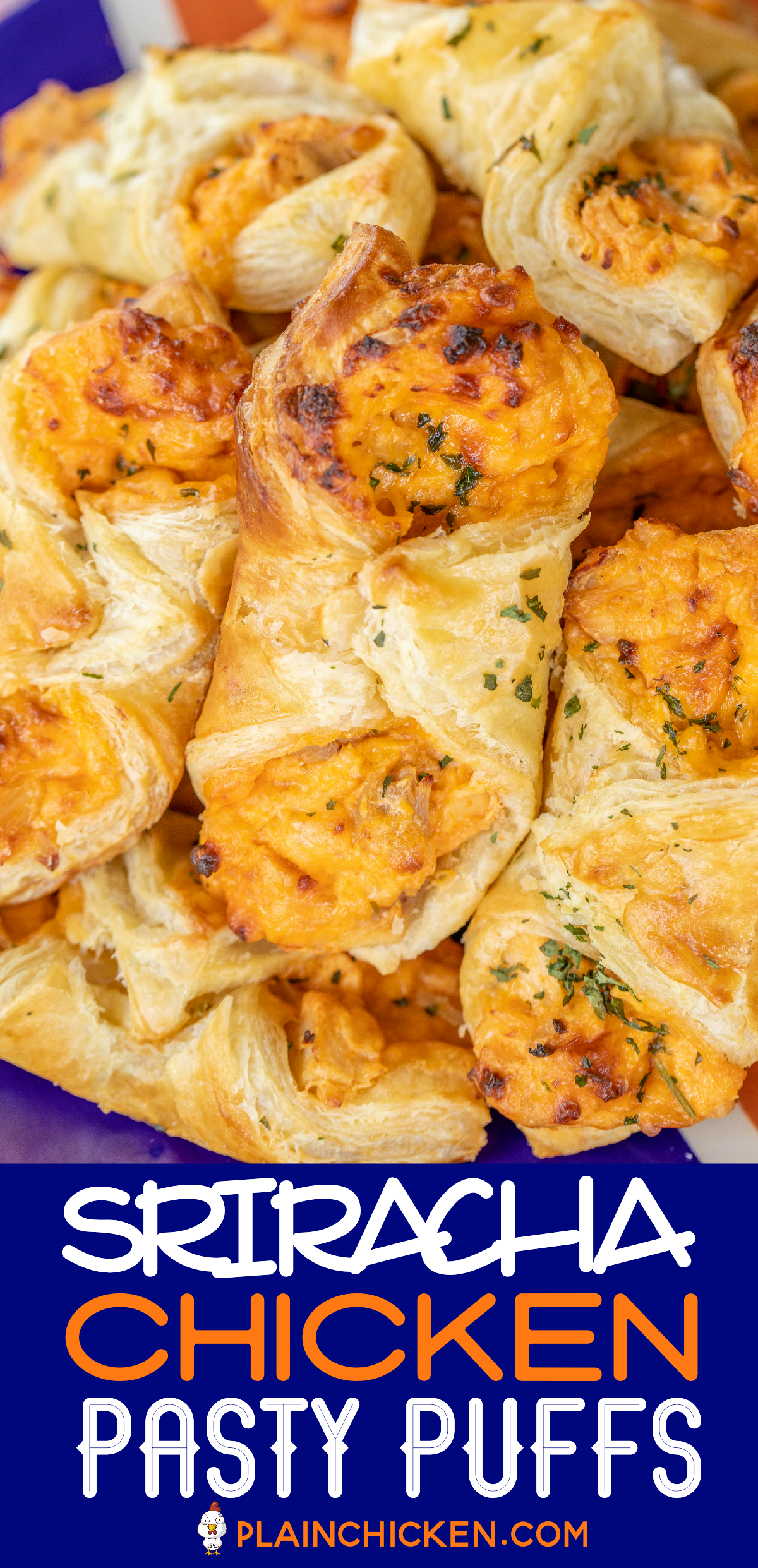 Sriracha Chicken Pastry Puffs - Football Friday - Plain Chicken