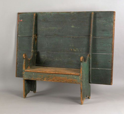 Large painted pine bench table, ca. 1800, retai : Lot 71
