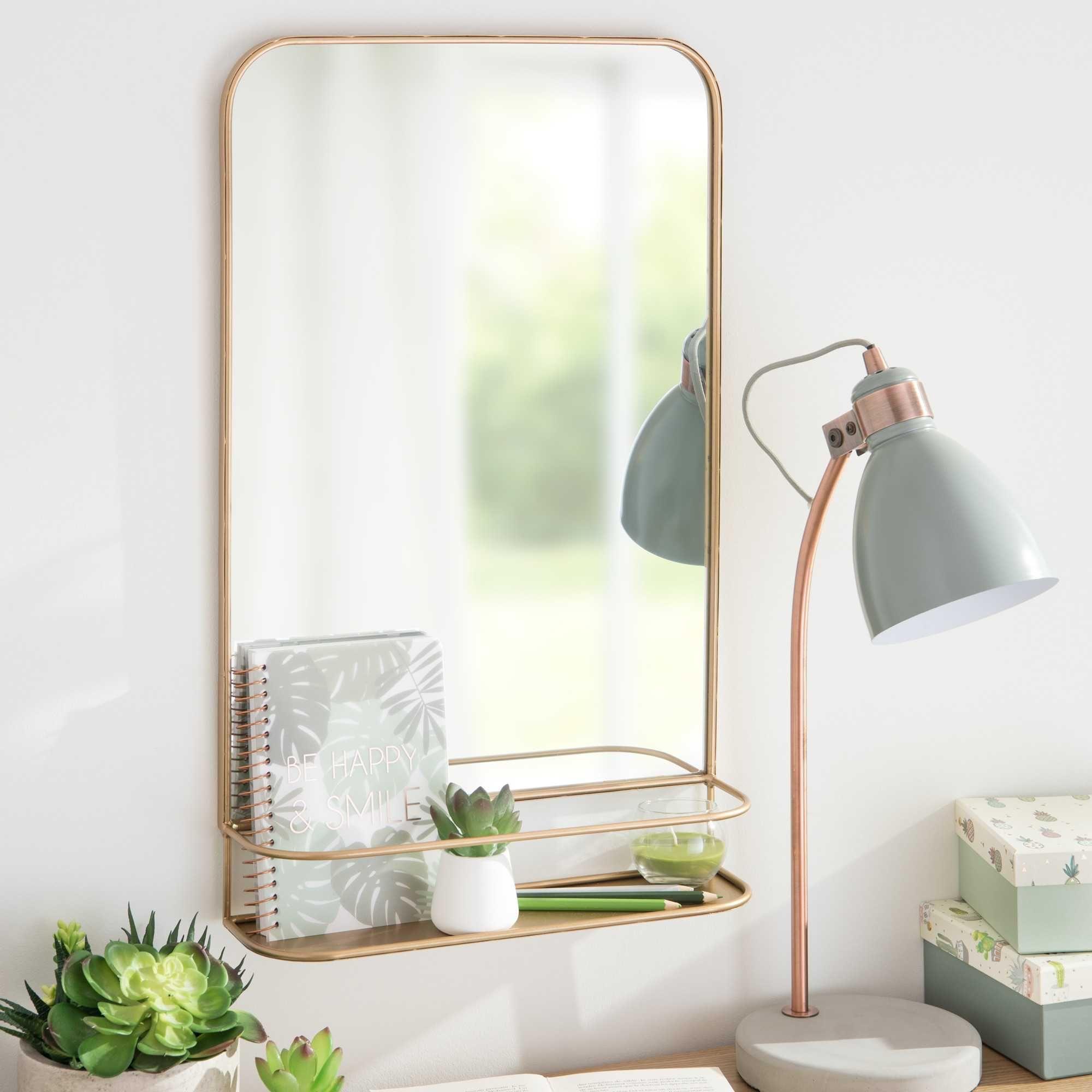 wandspiegel mit regal aus goldfarbenem metall 35x57cm durango wohnw nsche pinterest. Black Bedroom Furniture Sets. Home Design Ideas