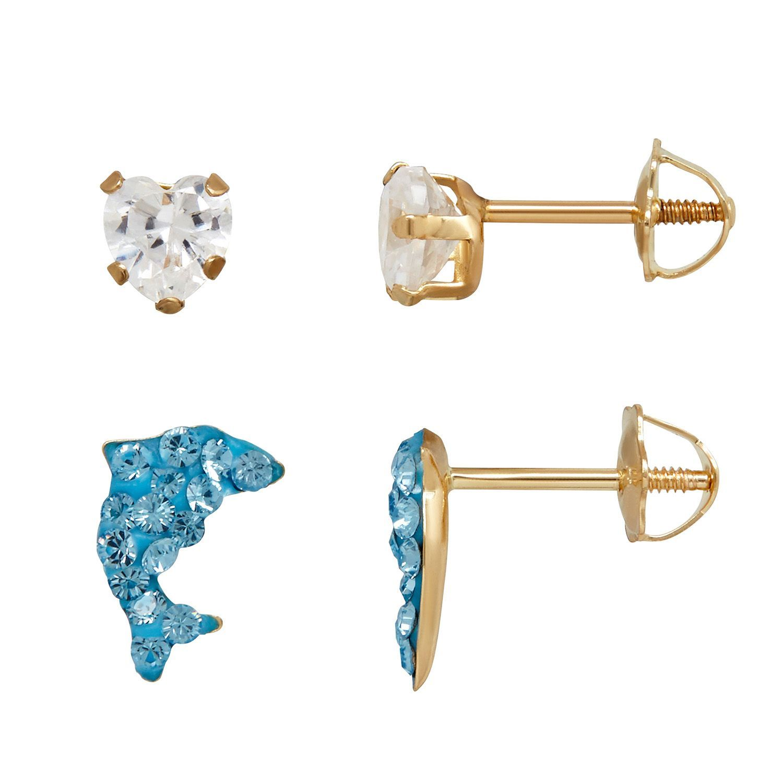 Children S Swarovski Crystal Stud Earring Set In 14k Yellow Gold