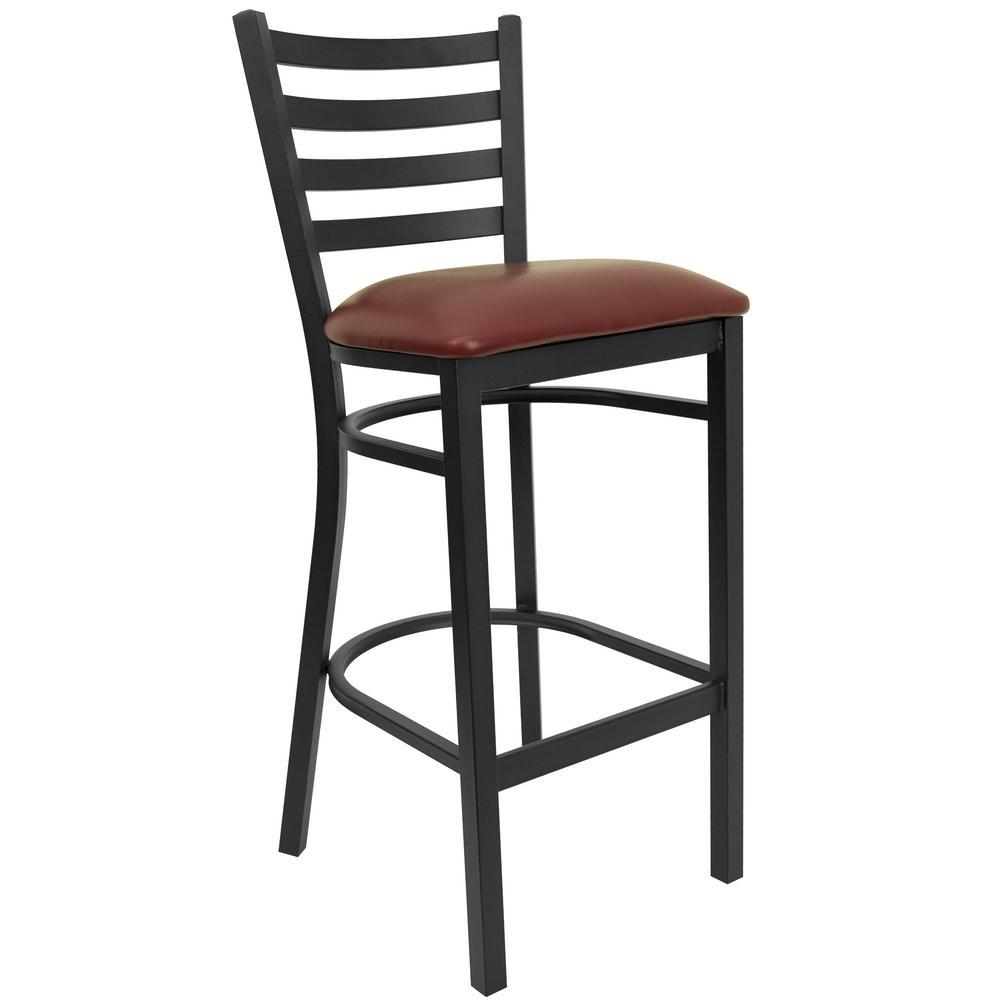in black and burgundy cushioned bar stool blackred black
