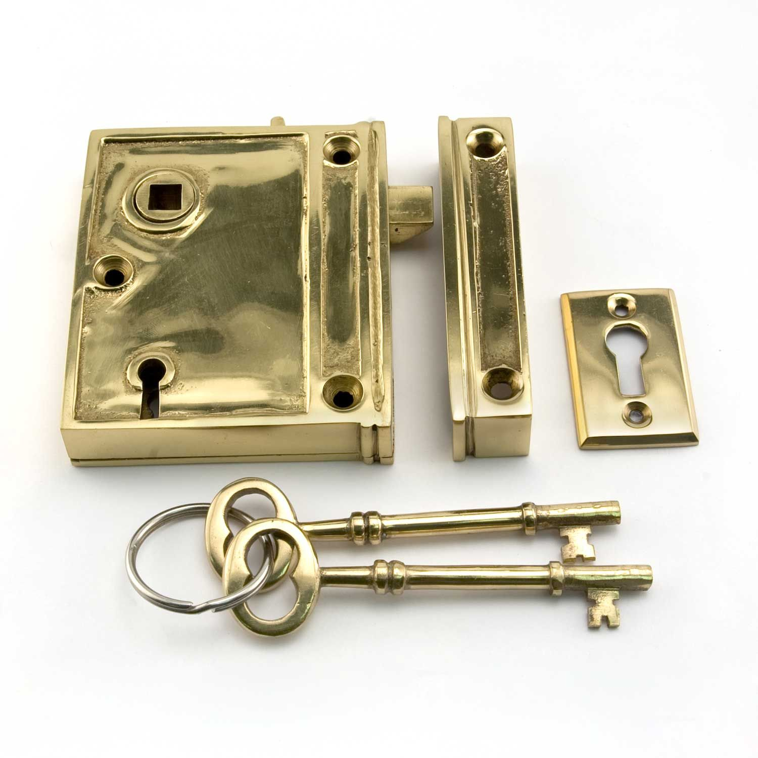 Vertical Brass Rim Lock Set With Porcelain Knobs   Right Hand   Polished  Brass