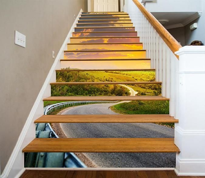 25 Pretty Painted Stairs Ideas: 3D Pretty Road Scenery 1578 Stair Risers