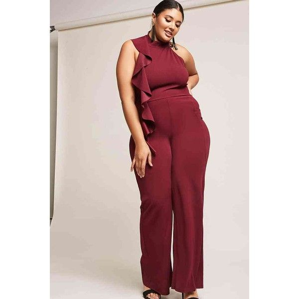 f24eb3a23f11 Forever21 Plus Size Asymmetrical Ruffle Jumpsuit ( 38) ❤ liked on Polyvore  featuring plus size women s fashion