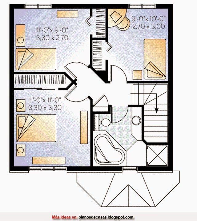 Plano De Casa Pequeña De 7m X 7m Planos De Casas Casa De 3 Dormitorios Plano De Casa Pequeña
