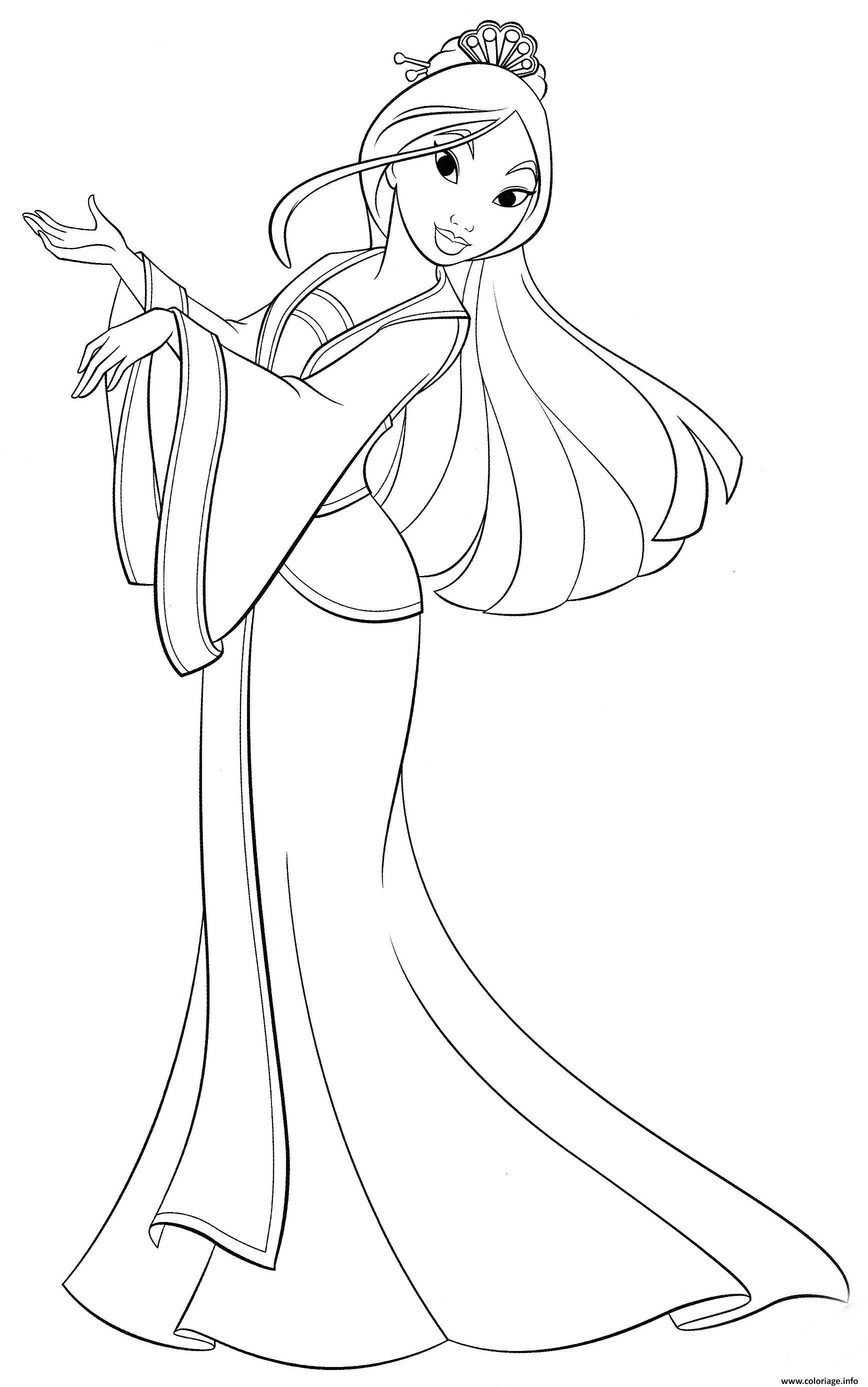 Coloriage Princesse Disney Mulan Legende chinoise de Fa Mulan