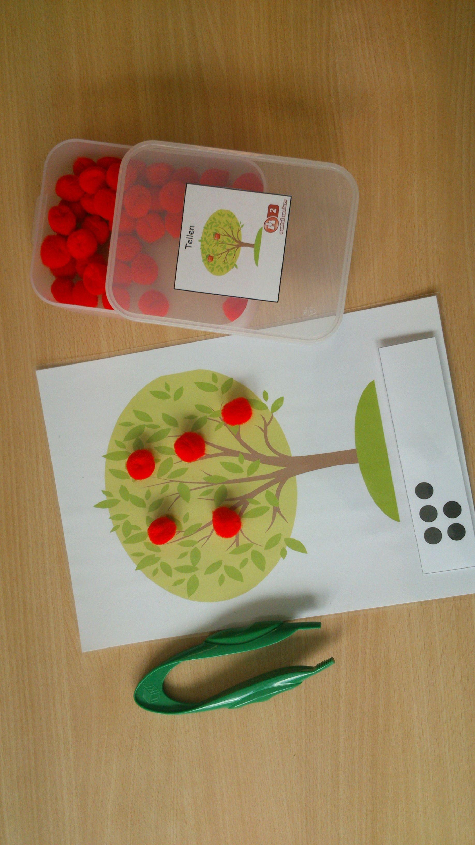 Begeleide of zelfstandige activiteit - Tel en hang de juiste hoeveelheid appels in de boom