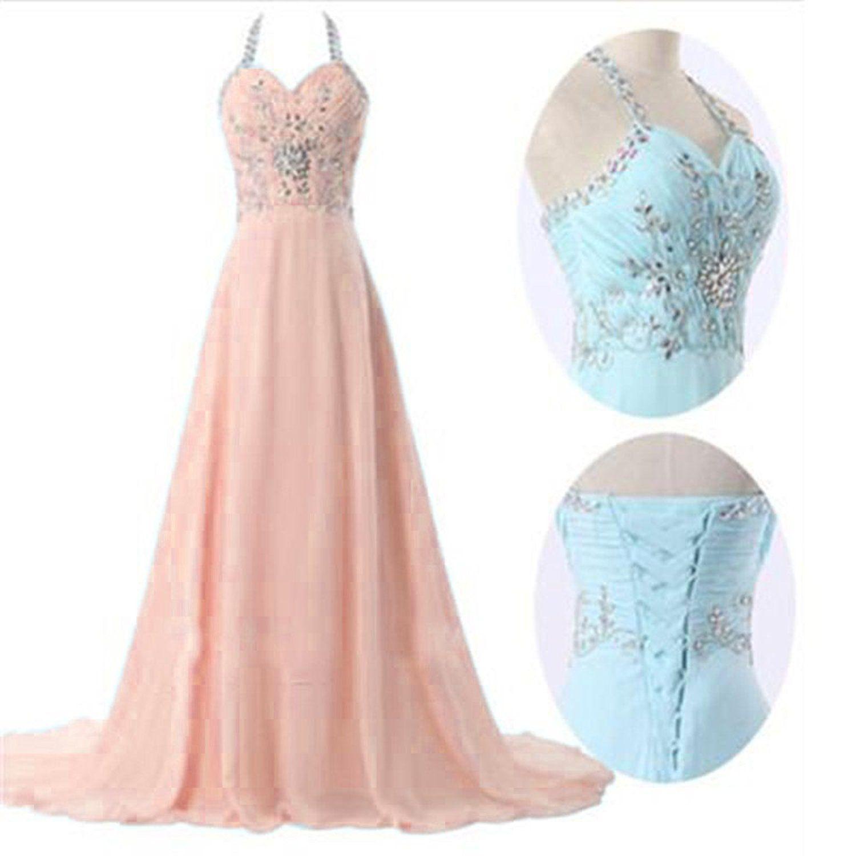 Angela womenus halter crystal a line long prom dress evening party
